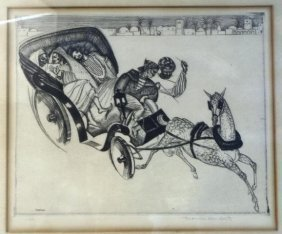 Thomas Handforth Etching Of Horse & Carriage