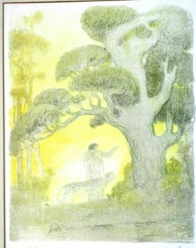 Pastel On Paper Of Cheetah & Man In Jungle