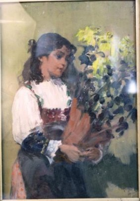 Painting Of Girl Holding A Bouquet Of Flowers