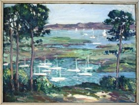 Painting Of Lake With Sailboats
