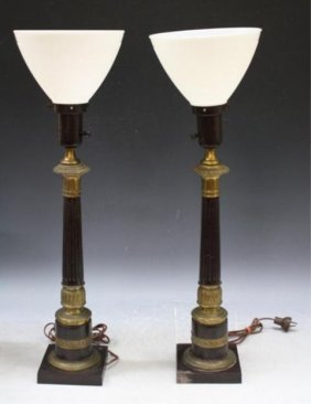 Pair Of Column Shaft Lamps W/ Gilded Bases