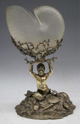 Glass & Metal Centerpiece W/ Sea God