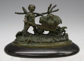 Bronze Inkwell W/ Child Pushing A Cart