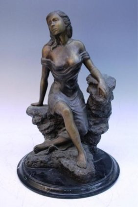 Bronze Sculpture Of Seated Woman