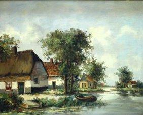 Martin Lenterman Painting Of Dutch Village W River