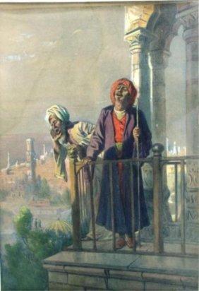 J.E. Baker Watercolor Of 2 Men On A Balcony