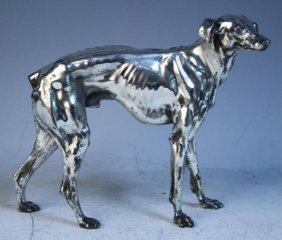 Silvered Metal Greyhound Figurine