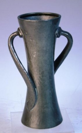 English Solkets Pewter Vase With 2 Handles