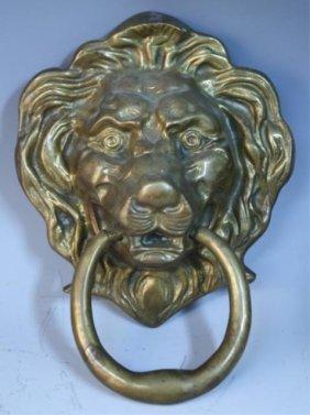 Large Gilded Bronze Lion Head Doorknocker