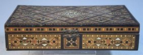Wooden Box W/ Marquetry And Mother Of Pearl Inlays