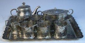 9 Pc. Persian Silver & Niello Tea Set