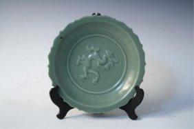 Chinese Celadon Glazed Plate W/ Dragon