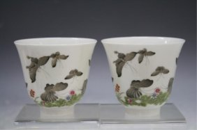 Chinese Pair Of Porcelain Cups W/ Butterflies