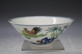 Chinese Porcelain Bowl W/ Chickens