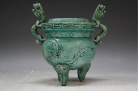 Chinese Turquoise Glazed Censer Ming Dyn.