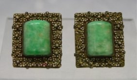 Pair Of Chinese Clip-On Earrings W/ Jade Insets