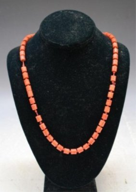 Chinese Carved Coral Beaded Necklace