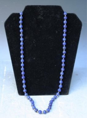 Carved Lapis Lazuli Beaded Necklace
