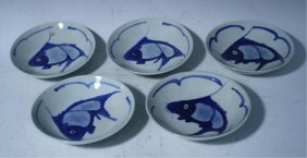 Set Of 5 Chinese Blue & White Fish Plates