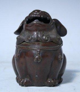 Japanese Bronze Foo Dog Incense Burner