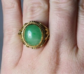 Chinese Jade & 14K Gold Ring