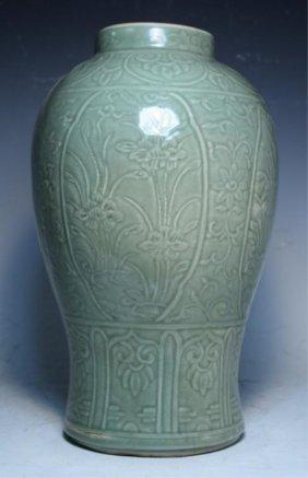 Chinese Celadon Floral Jar