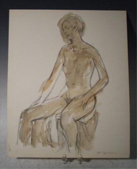 Norio Azuma Pencil & Oil Sketch Of Nude