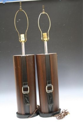 Pair Of Hermes-Style Lamps W/ Strap Design