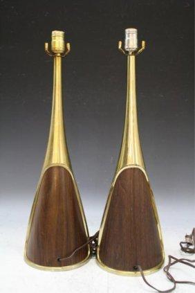 Pair Of Wood & Brass Laurel Lamps American