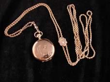14K Yellow Gold Waltham Pocket Watch & Chain
