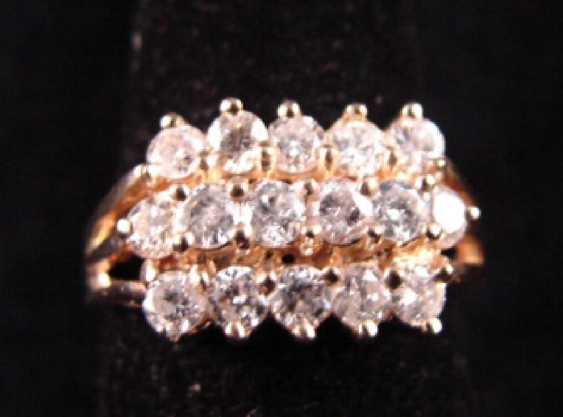 14k Yellow Gold Diamond Dinner Ring