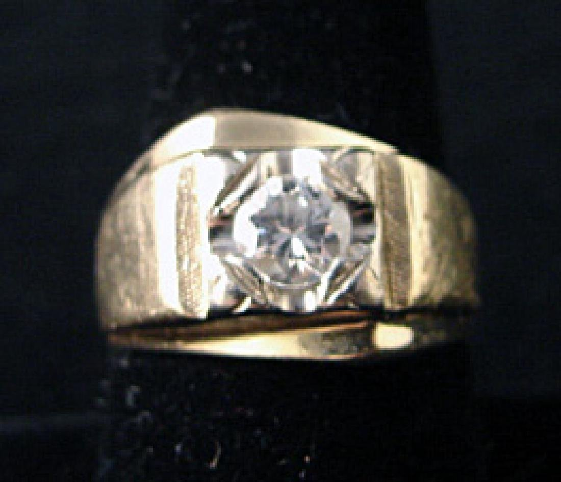 14k Yellow Gold Man's Diamond Ring