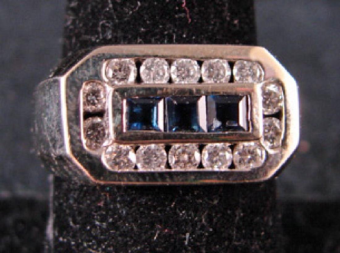 14K White Gold Man's Diamond & Sapphire Ring