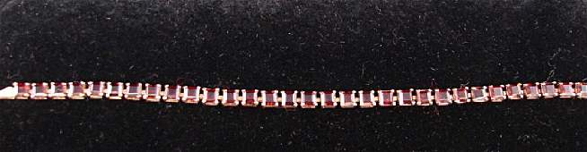 14K Yellow Gold Garnet Tennis Bracelet
