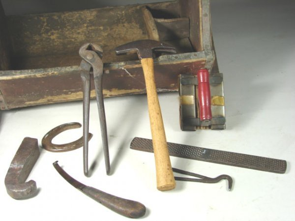 520: Old Farriers Tool Box with contents. - 3