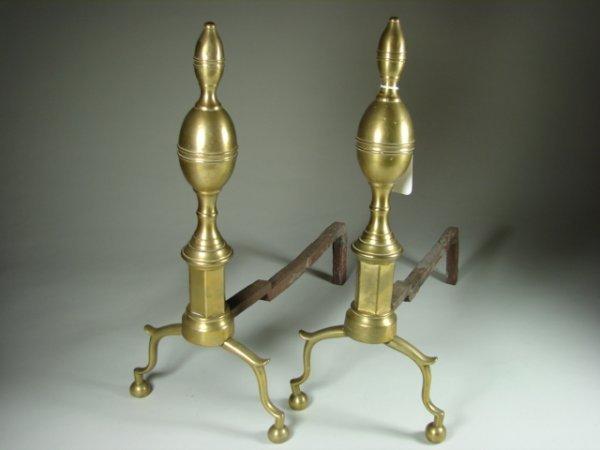 770: Pair of Brass Andirons