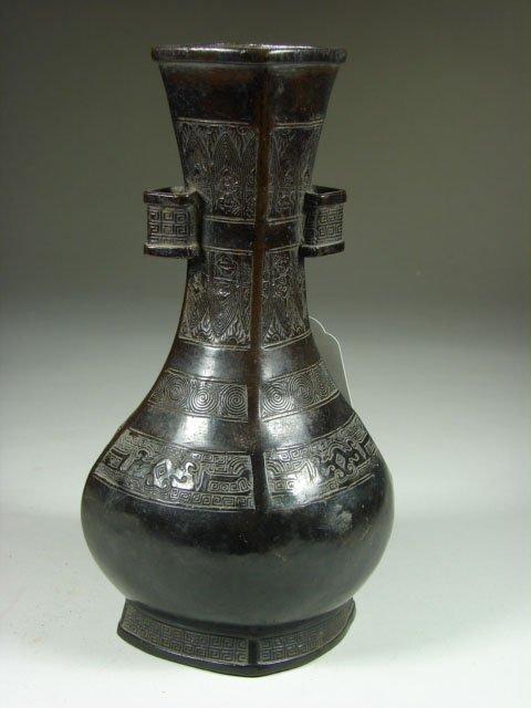 776: 19th Century Japanese Patenated Bronze Vase