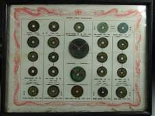 1184: Four Frames of Assorted Early Coins of Vietnamese