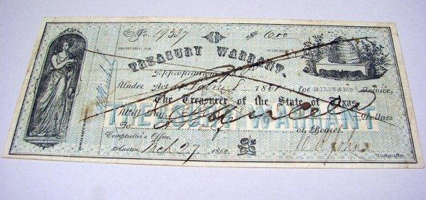 15: Texas Treasury Warrant for Six Dollars