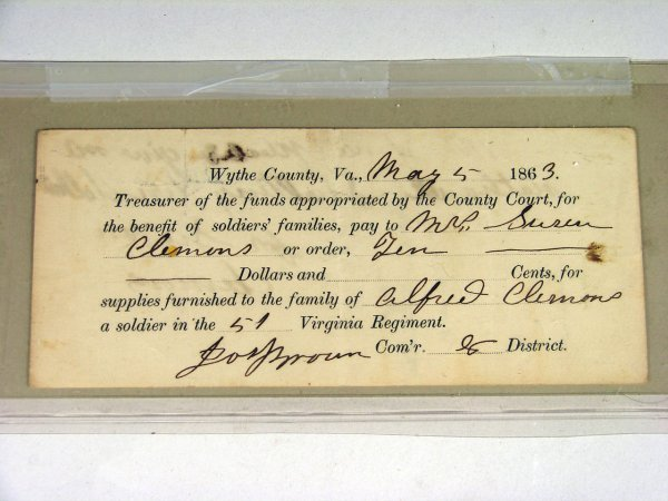 18: Wythe Co. Virginia Pay Note