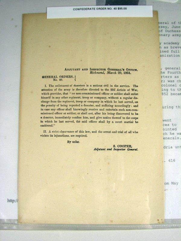 25: Printed Confederate Military Document