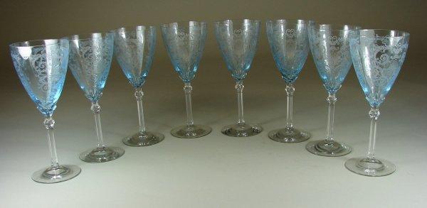 2B: Eight Blue Fostoria Versailles Water Goblets