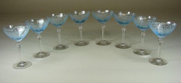 3B: Eight Blue Fostoria Versailles Sherbets
