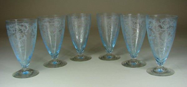 4B: Six Blue Fostoria Versailles Tumblers