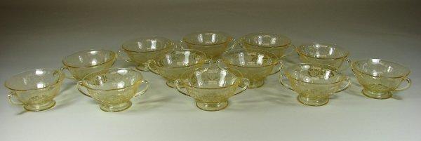6B: 12 Yellow Fostoria Versailles Cream Soup Bowls