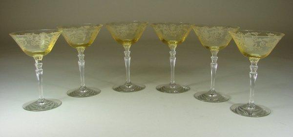 7B: Six Yellow Fostoria Versailles Sherbets
