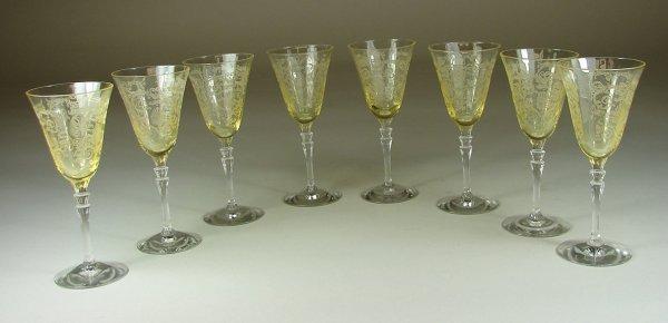 8B: Eight Yellow Fostoria Versailles Wine Goblets