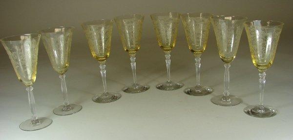 9B: Eight Yellow Fostoria Versailles Water Goblets