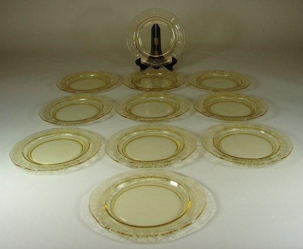 14B: Eleven Yellow Fostoria Versailles Salad Plates