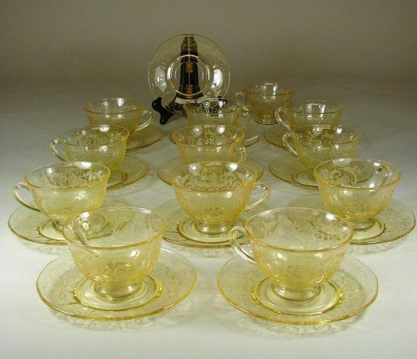 16B: 12 Yellow Fostoria Versailles Cups & Saucers